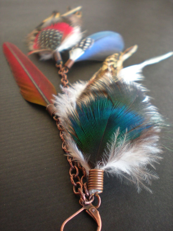 Heathers single feather earring - Tamiko