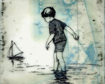 Print - Limited Edition - Wellfleet Boy - mixed media, encaustic