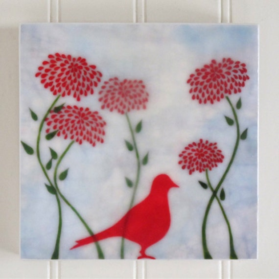 waxed mini - Red Bird in Red Flowers encaustic reproduction