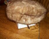 Vintage mink pill box hat. light to medium color