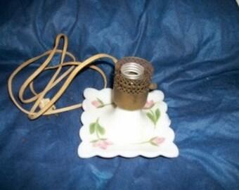 vintage milk glass boudoir lamp.  hand painted flowers