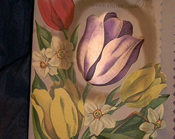vintage 40's 50's easter greeting card to wife.x large,padded silk tulips