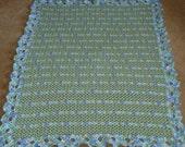 Powder Green and Lovey Nostalgic Wrap Crocheted Baby Blanket/Afghan 39 x 46