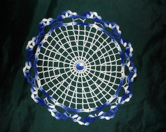 New Handmade Small Pink Champagne Crocheted Doily in White/Shaded Blues 9.5