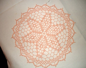 New Handmade Crocheted Royal Star Doily in Light Peach 13 inches