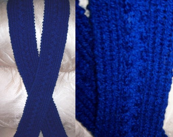 Navy Cable and Ribbing Knit Scarf 4 x 79