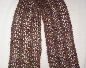 """Jewel Multi Hued Rabbit's Paw Lace Mohair Blend Scarf 7.5"""" x 67"""""""