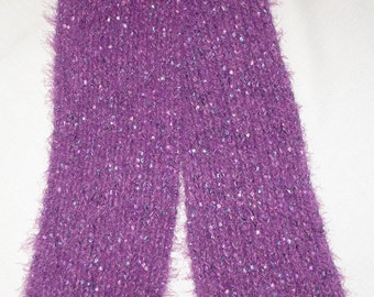 Dreaming of Ribbon in Plum and Pink - Knit Eyelash Scarf 6 x 51