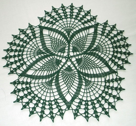 New Handmade Crocheted Fancy Fans Doily in Hunter Green 17 inches