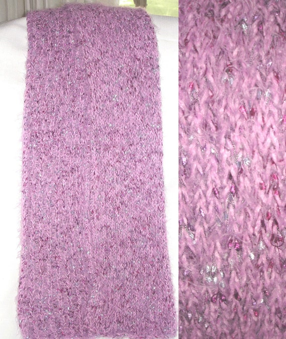 Knit Scarf of Blush Dream and Misty Violet Railroad Ribbon