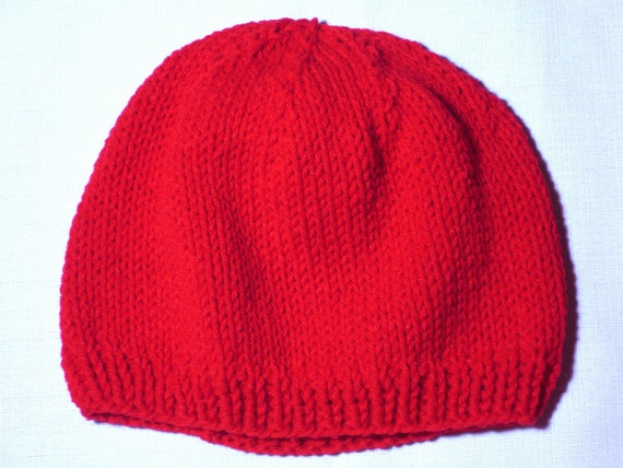 Cherry Red Handmade Womens Stockinette Knit Hat - Medium