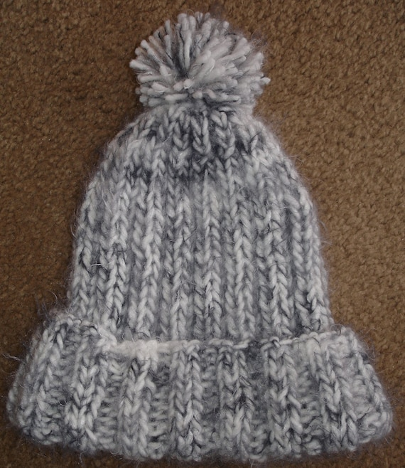 Black and White Angel Hair Knit Hat with Pompom by ...