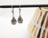 Silver Metalwork Earrings - Vintage Swarovski Crystal, Elegant Bridal
