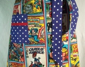 Women's Half Hostess Apron Made From Captain America Fabric- Avengers