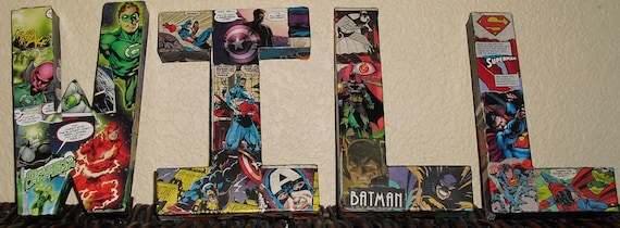 Custom Listing for Patty- Made to Order Comic Book Letters Wall Hangers Spiderman, Batman, Superman, XMEN
