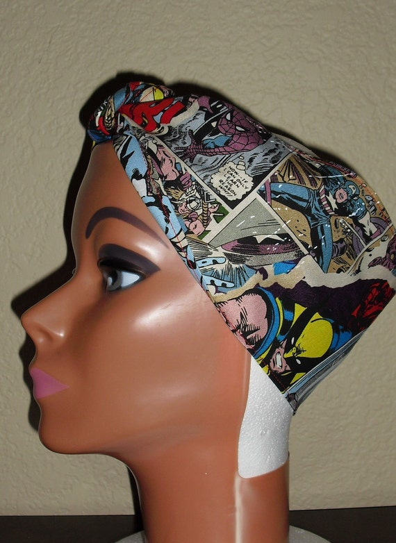 Pin-Up Rockabilly Style Hair-Head Wrap Scarf Tie Headband Made From Avengers Comic Fabric