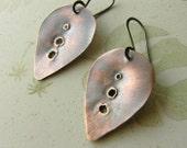 Leaf Earrings Handmade Autumn leaves Copper earrings hand stamped