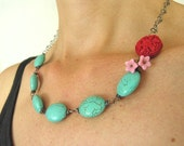 Red Flower and Turquoise necklace Sterling Silver