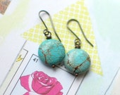 Turquoise disk earrings
