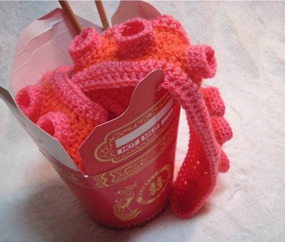 Tentacle Scarf in Orange and Pink