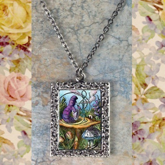 Alice in Wonderland Art Necklace - Alice and the Caterpillar
