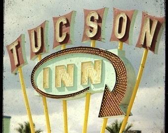 Tucson Inn Neon Motel Sign 5x5 Fine Art Photo