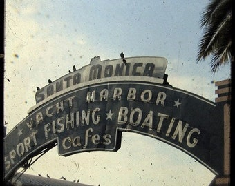 Santa Monica Pier Sign 5x5 Fine Art Photo