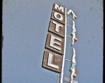 Neon Diver Motel Sign 5x5 fine Art Photo