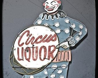 Giant Clown Neon Sign 5x5 Fine Art Photo