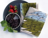 Squid Linens - set of two tea towels, blue-green on natural
