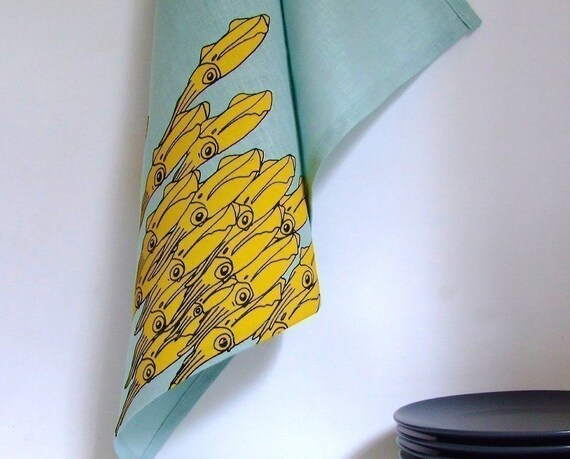 Squid Linens - set of two tea towels, yellow on blue