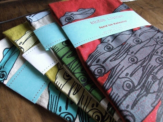 Squid Linens - set of two tea towels, mix and match