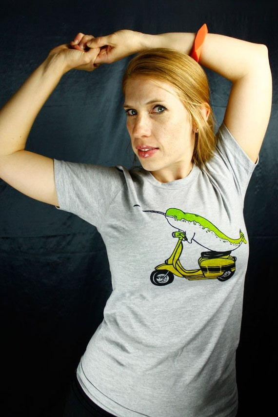 SALE - Tshirt - Narwhal Rides Again - heather gray unisex sizes