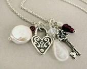 UNLOCK MY HEART - silver charm necklace