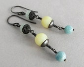 Sunlight on Water - opal and amazonite, sterling silver earrings