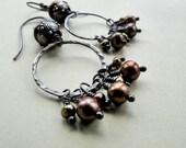 brown pearl sterling silver dangle, jasper stone, dark finish rustic oxidized metal distressed look earrings