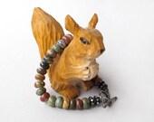 jasper stone sterling silver bracelet, autumn colors gemstone bracelet with oxidized dark finish woodland rustic