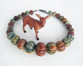 SALE - Chunky Carved Gemstone Picasso Jasper hand knotted melon shaped stone beads in autumn multi colors