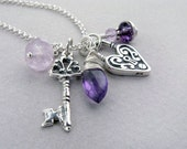 amethyst charm necklace, sterling silver with key and heart  - February Birthstone holiday christmas