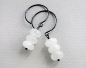 moonstone silver earrings, gemstones sterling silver dangle with dark patina