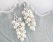 pearl cascade earrings, fresh water pearl earrings, white pearls, sterling silver, bride, cluster earrings, dangle earrings, june birthstone