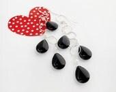 black onyx earrings, black briolette earrings, sterling silver earrings, dangle earrings, boho earrings, basic black earrings