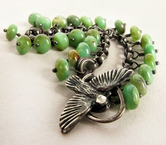 WINGS OF LOVE -  crysophrase and sterling silver bracelet