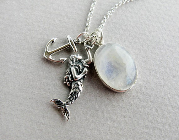 "moonstone mermaid sterling silver charm necklace ""Mermaid in Moonlight"""