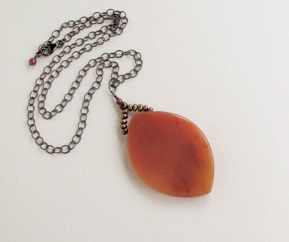 """orange pendant necklace  large aventurine and pearl sterling silver chain necklace""""Red Head"""""""
