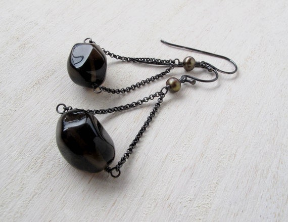 "Smoky Quartz Nugget Chunky Sterling Silver Chain Dangle Earrings  ""Urban Betty Rubble"""