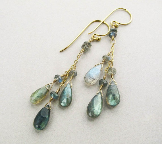 BLUE FLASH - labradorite and gold earrings