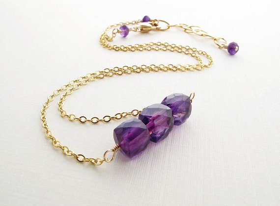 SALE amethyst necklace, gemstone necklace, gold necklace, gold amethyst necklace, amethyst cubes, simple gemstone necklace