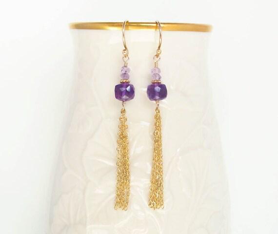 amethyst gold earrings, amethyst earrings, purple and gold earrings, purple earrings, statement earrings, february birthstone