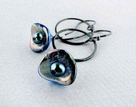 blue earrings, blue flower earrings, sapphire blue earrings, sterling silver earrings, trumper flower earrings, boho earrings CIJ
